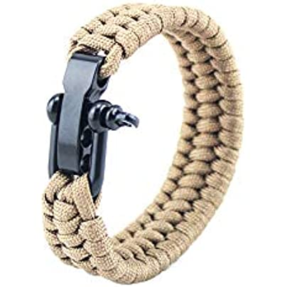 mxdmai Survival Bracelet with Adjustable Stainless Steel Shackle Paracord Wristband Tactical Rope Cord Ultimate Bracelets for Camping Hunting Hiking Brown 9inch 1PC Estimated Price -