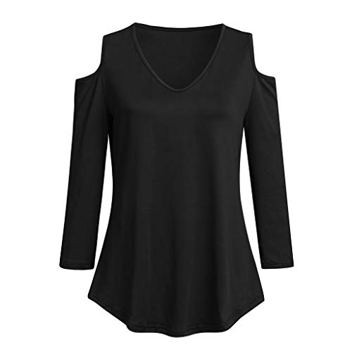VEZAD Trendy Cold Shoulder Tunic Blouse Women 3/4 Sleeve Raglan Solid Shirt