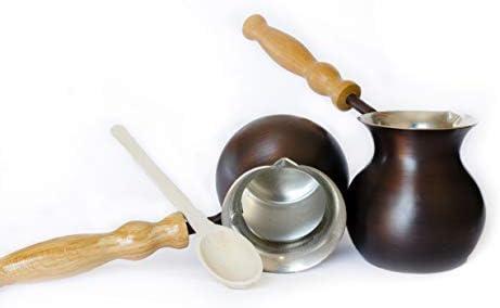 Cafetera turca, jezve griego disponible en dos colores. Bisve de cobre, Ibrik árabe con mango de madera de roble. Primera turca sin costuras con un grosor de bobina: 1,5mm. - porZH: Amazon.es:
