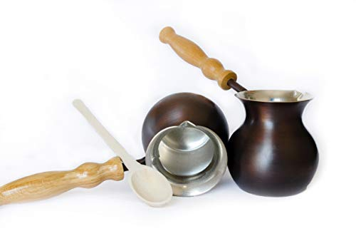 Turkish Coffee Pot, Greek Jezve available in two Colors. Copper Cezve, Arabic Ibrik with wooden oak handle. First seamless Turka with a cooper thickness - 1.5