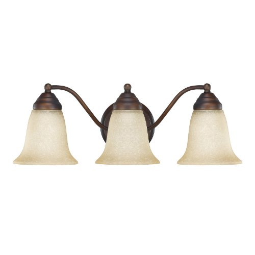 Capital Lighting 1363BB-297 Transitional 3-Light Vanity Fixture, Burnished Bronze Finish with Mist Savor ()