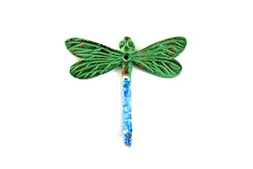 Dragon Fly Hook in Blue Green Distressed Finish (Set of 3) by MarktSq