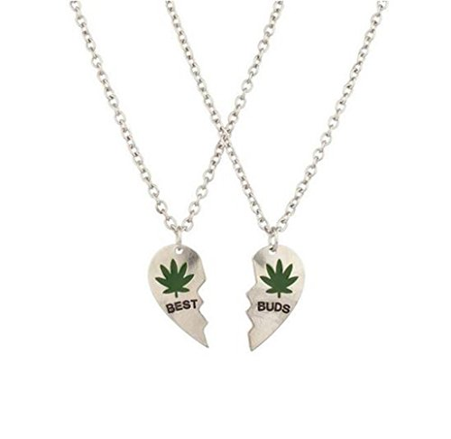"Gudeke Marijuana Leaf ""Best Buds"" BFF Best Friends Valentine Heart Weed Leaf Cannabis Pot Pendant Necklaces (2 PC)"