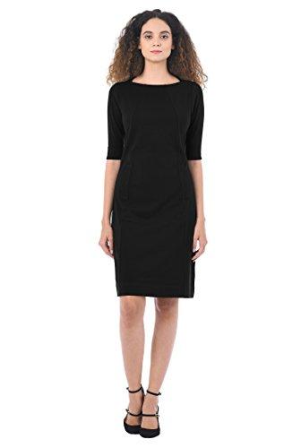 Seamed Shift Dress (eShakti Women's Seamed Cotton Knit Shift Dress XL-16 Regular Black)