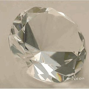 "Clear Glass Crystal Diamond Shaped Paperweight 80mm (3"") in Dimameter"