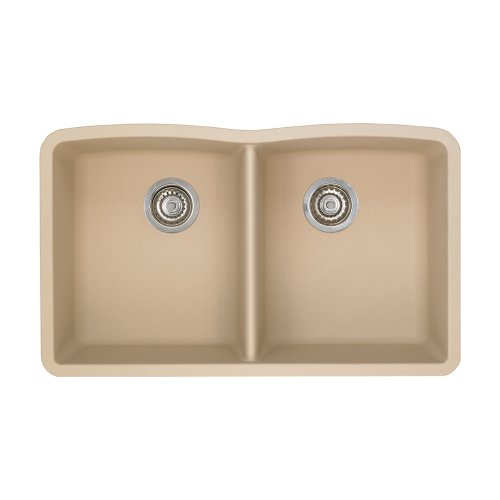 - Blanco 441223 Diamond Equal Double Bowl Silgranit II Sink, Biscotti