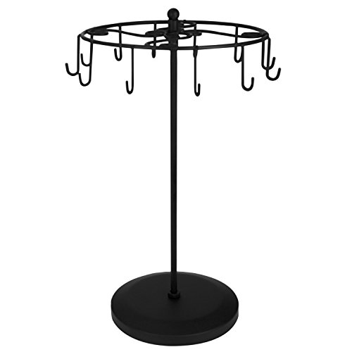 MyGift 14-Inch Metal Rotating Jewelry Tower with 12 Necklace & Bracelet Hooks, Black (Metal Bracelet Necklace)