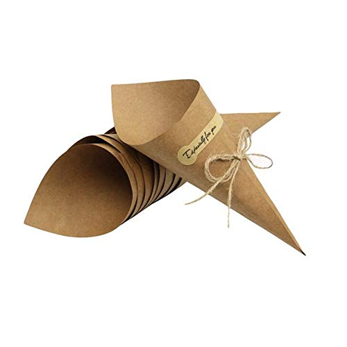 (Angelliu 100pcs Laser Cut Hollow Confetti Cones Candy Gift Boxes for Party Wedding Favour)