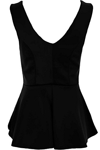 Sapphire Mujer cuello en V espalda baja sin mangas CADENA DE ORO Cintura Inserto Peplo Llamarada ARRIBA Negro