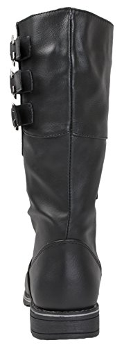 Lora Dora Kids Girls Childrens Womens Quilted Knee High Biker Riding Boots Flat Buckle Faux Leather/Patent Ladies Girls Kids Childrens Shoes Size UK 10-5 Black - 3 Strap oaUBt2YkY