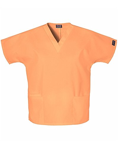 (Cherokee Women's V-Neck Scrub Top, Orange Sorbet, Medium)