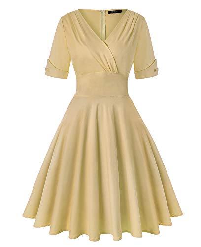 - ROOSEY Women's 1950s Vintage Half Sleeve Elegant Cocktail Evening Dress - Khaki,L