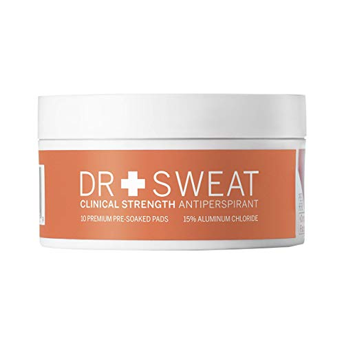 Dr. Sweat Clinical Strength Antiperspirant Deodorant Pads - Reduce Sweating for 7 days per use, Deodorant for Men & Women, Pack of 10, with the highest level of sweat protection without a prescription (Best Prescription Strength Antiperspirant)