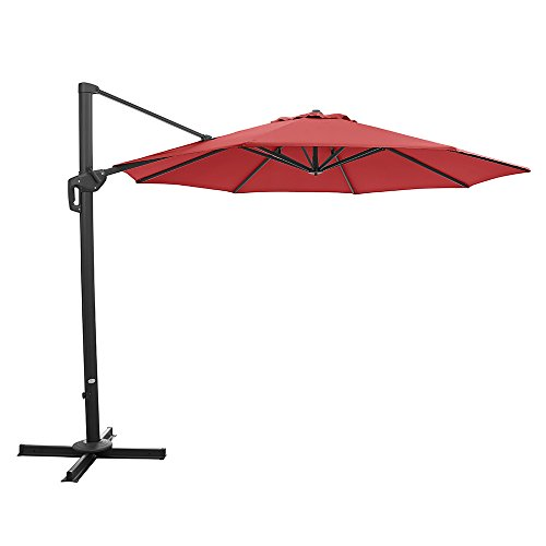 Ulax furniture 11 Ft Patio Umbrella Outdoor Offset Hanging Umbrella with Cantilever Aluminum, 360°...