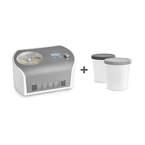 fa47832400656e ... Elli de Springlane Kitchen avec compresseur de 1,2 litre, en acier  inoxydable pour yaourt glacé, sorbet et crème glacée, 135 W, écran LCD,  Minuterie!