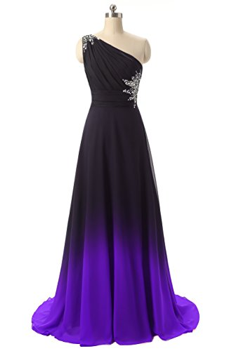 Shoulder Evening Long Purple1 Dresses Gowns Black Chiffon ANGELA One Ombre Party Wedding Prom Rw5Znq4IIp
