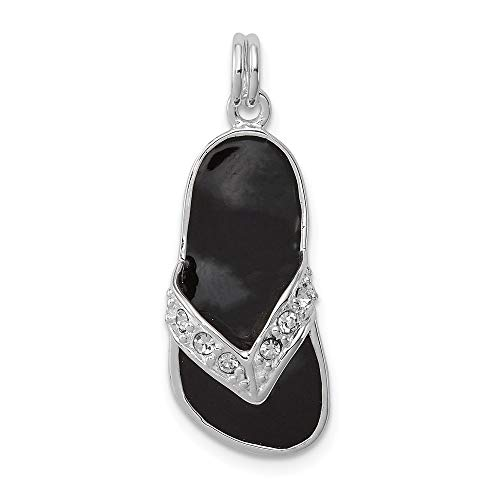 - 925 Sterling Silver Black Enameled Cubic Zirconia Cz Flip Flop Pendant Charm Necklace Sea Shore Sal Fine Jewelry Gifts For Women For Her
