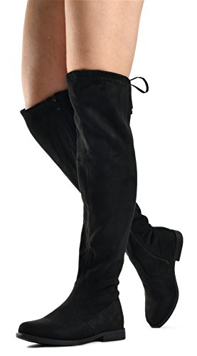 LUSTHAVE Womens Isabel Over The Knee Pull On Zip Up Riding Boots - Low Stacked Comfort Heel - Faux Suede Knee High Flat Boot Black eqvBVTkeZ