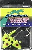 Hurricane Saltwater Jig Head, 1-Ounce, Chartreuse/Black