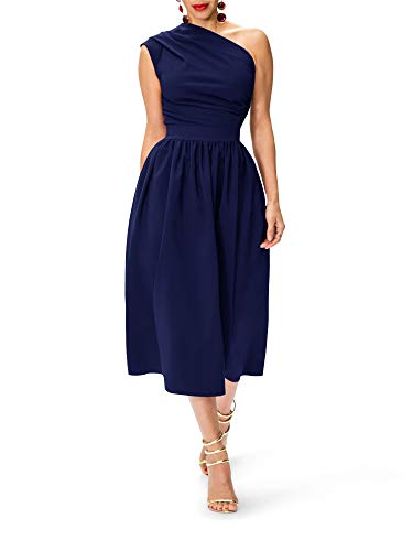 - Kathemoi Womens One Shoulder Formal Dresses Slim Fit Elastic Waist Midi Dress with Pockets