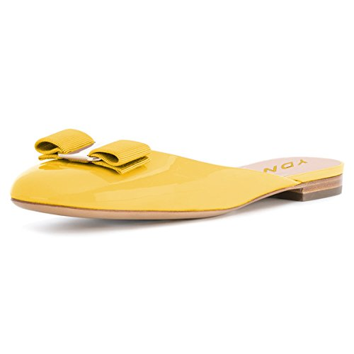 YDN Women Round Toe Low Heel Flats Slip on Bowknot Slippers Summer Slide Clog Shoes Yellow