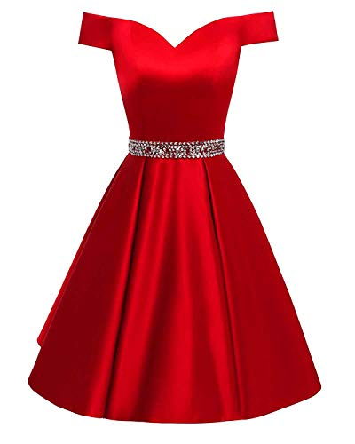 Changuan Women's Short Beaded Prom Dresses Off The Shoulder Backless Homecoming Dress Red-2