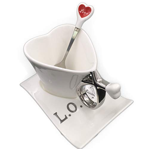 UUOUU Ceramic Coffee Mug Heart-Shaped Cups White Creative Milk Mug with Spoon Valentine'S Day Gift Cup Sets for Lovers