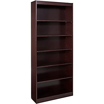 Lorell 6 Shelf 36 X 12 84 Inch Panel End Hardwood Veneer Bookcase Mahogany