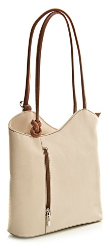 Leather White Shoulder Backpack Made Real Smooth Leather Off Italy Handbag Finish In or Made BHBS Hand Womens B5xAqwAa