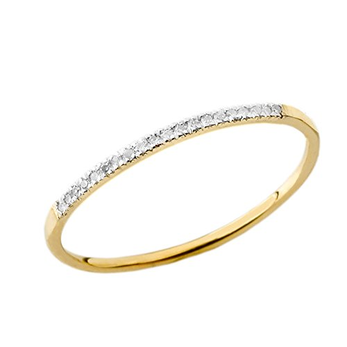 Dainty Modern Diamond Stackable Wedding Band in 14k Yellow Gold (Size 8.5) (Gold 14k Stackable Yellow)
