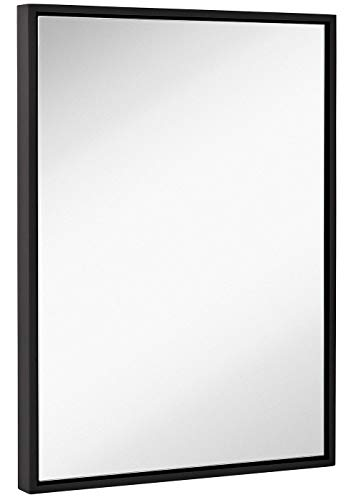 Hamilton Hills Clean Large Modern Black Frame Wall Mirror | Contemporary Premium -