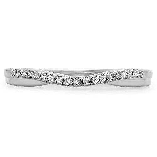 0.11 Carat (ctw) 10K Gold Round Cut White Diamond Ladies Anniversary Wedding Guard Contour Band