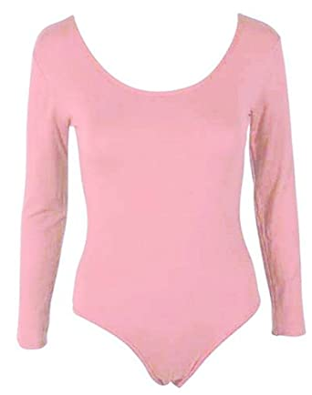 HOT HANGER Womens Long Sleeve Bodysuit Leotard Top 8-14  Amazon.co.uk   Clothing 2d702f30e