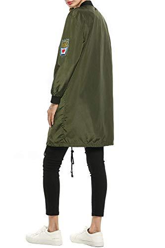Manica Pilot Cappotto Casual Especial Autunno Con Outerwear Armeegrün Donna Eleganti Primaverile Bomber Sciolto Giacca Coreana Distintivo Collo Estilo Lunga aAEEqw