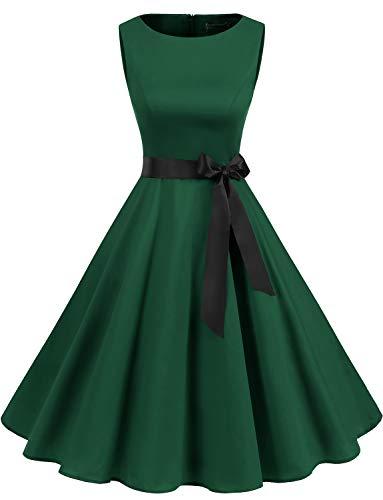 Gardenwed Women's Audrey Hepburn Rockabilly Vintage Dress 1950s Retro Cocktail Swing Party Dress Dark Green 3XL]()