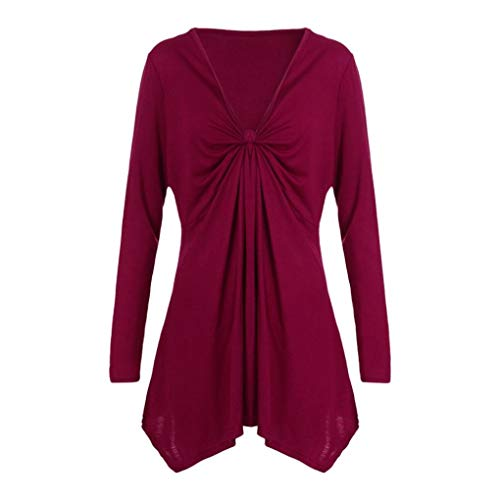 Price comparison product image Women Loose Tops Autumn Lace Ptachwork Long Sleeve Tee T Shirts Casual Blouse Pullover (XL,  Red)