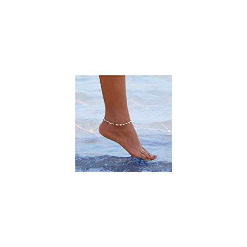 Mevecco Gold Dainty Heart Anklet,14K Gold Plated Cute Tiny Heart Shaped Boho Beach Minimalist Simple Foot Chain Ankle Bracelet for Women and Girls 14k Gold Small Heart