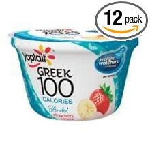 Yoplait Greek 100 Calorie Strawberry Banana Yogurt, 5.3 Ounce - 12 per case.