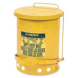 Justrite All-Steel Waste Can - 18''Dia.X24''H - 21-Gallon Capacity - Yellow - Yellow