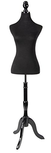 Female Mannequin Torso - Mannequin Body Stand for Clothing Display, Room Decor, and Store Window Extra Tall with Wooden Tripod, Black, Height up to 80 inches