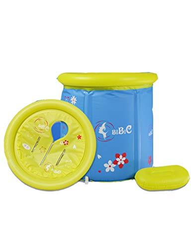 Inflatable Bathtub Folding PVC Plastic Portable Adult Jacuzzi, Spa SPA with Air Pump Tub (blue,70cmx70cm) (Color : Blue)