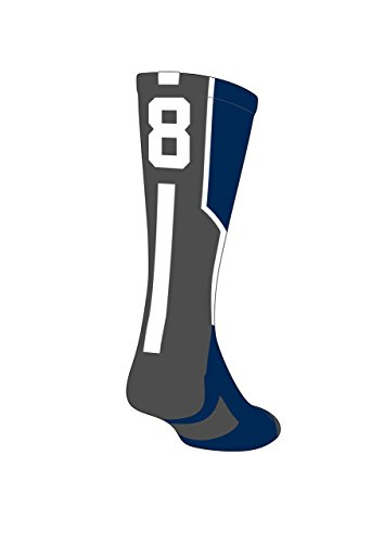 TCK Player Id Navy Custom Number Crew Sock (SINGLE SOCK)