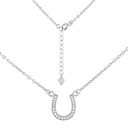 Equestian Cowgirl Horse Shoe Sterling Silver Clear CZs Pendant 16-18in Necklace -