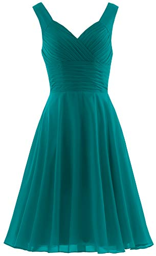 Dress Homecoming Teal (ANTS Women's Pleated Sweetheart Bridesmaid Dresses A Line Cocktail Gown Size 10 US Teal Green)