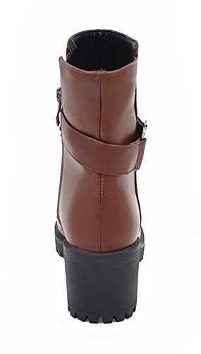 PU Mujer Tacón Cerrada Boots Cremallera Shoes Puntera EuX92 Grueso AgeeMi Medio Marrón Tacón AwXq50v