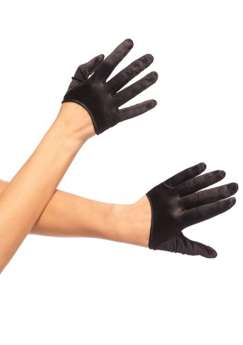 Leg Avenue Women's Mini Cropped Satin Gloves, Black, One Size -