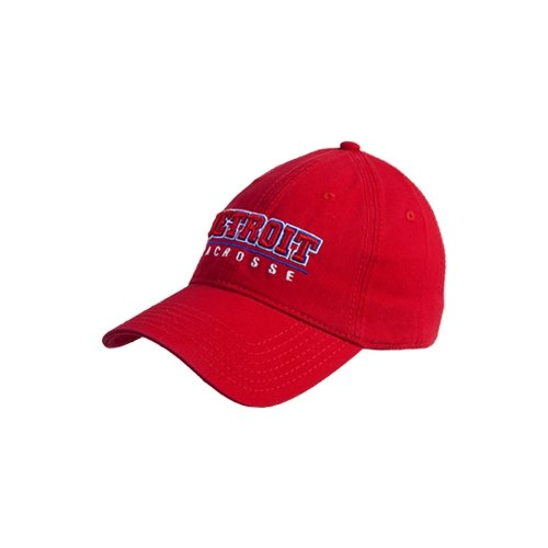 Detroit Red Twill Unstructured Low Profile Hat 'Detroit Lacrosse Stacked'
