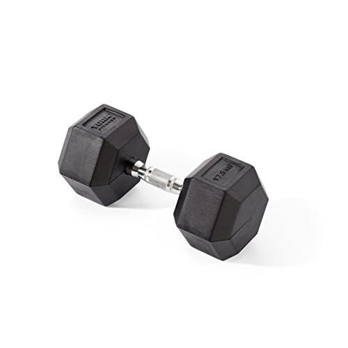 York Fitness Haltères hexagonales en caoutchouc, mixte, Rubber Hex, Noir, 2 x 12.5KG (Pair)