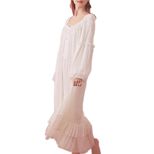 Women's Vintage Victorian Nightgown Long Sleeve Sheer Sleepwear Pajamas Lace Nightwear Robe (X-Large, White)