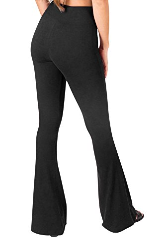 Sejora Satina High Waisted Flare Palazzo Wide Leg Pants | Printed & Solid | reg & Plus (Medium, 1 Black) by Sejora (Image #3)